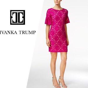 Ivanka Trump Dresses - Ivanka Trump | Bell Sleeve Lace Overlay Dress